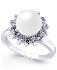 Charter Club Silver Tone Imitation Pearl And Crystal Flower Statement Ring Only At Macy's