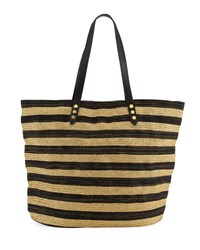 San Diego Hat Company Striped Braid Tote Bag Black
