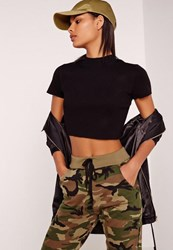 Missguided Basic Rib Short Sleeve Crop Top Black