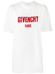 Givenchy Distressed Logo Print T Shirt White