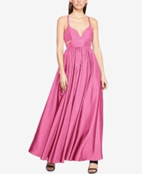 Fame And Partners Cross Back Dress With Full Skirt Pink