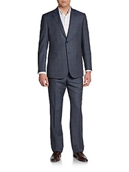 Saks Fifth Avenue Black Classic Fit Windowpane Suit Blue