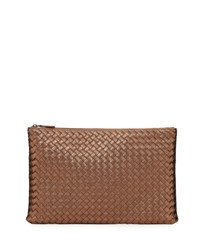Bottega Veneta Large Zip Top Cosmetics Bag Brown