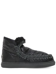 Mou 40Mm Mini Eskimo Crackled Leather Boots Black
