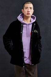 Urban Outfitters Uo Velvet Embroidered Coach Jacket Black