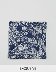 Noose And Monkey Floral Pocket Square Navy