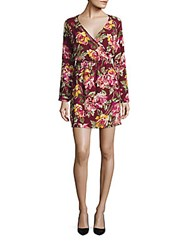 Saks Fifth Avenue Red Printed Long Sleeve Dress Floral Multicolor