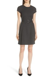 Boss Dumano Belted Pin Dot Dress Black Fantasy