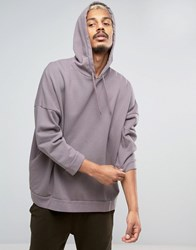 Asos Mid Oversized Hoodie With Wash And 3 4 Sleeves Violet Grey Purple