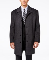 London Fog Coventry Check Wool Blend Overcoat Charcoal C