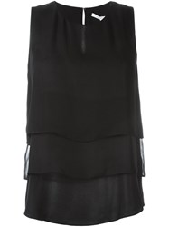 Diane Von Furstenberg Draped Layer Sleeveless Top Black
