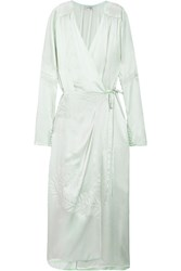 Attico Gabriela Embroidered Silk Satin Wrap Dress Mint