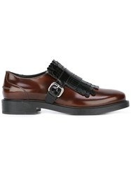 Tod's Round Kilties Buckled Loafers Brown