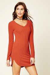 Forever 21 Ribbed Knit Bodycon Dress Rust