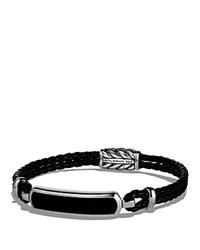 David Yurman Exotic Stone Station Black Leather Bracelet With Black Onyx Black Silver