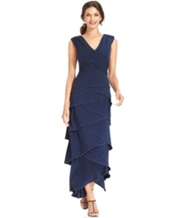 Patra Sleeveless Tiered Beaded Gown Navy
