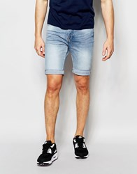 New Look Skinny Denim Shorts In Bleached Blue Blue