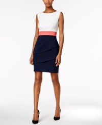 Connected Colorblocked Tiered Sheath Dress White Navy Pink