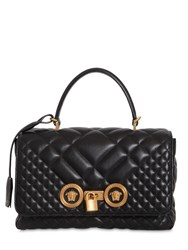 Versace Quilted Leather Medium Top Handle Bag Black