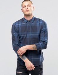 Blend Of America Slim Check Shirt Ensign Blue Ensign Blue