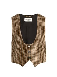 Saint Laurent Tweed Wool Waistcoat Beige Multi