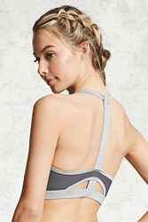 Forever 21 High Impact T Back Sports Bra Heather Grey Grey
