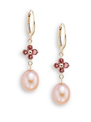 Saks Fifth Avenue 9 10Mm Pink Freshwater Pearl Pink Tourmaline And 14K Yellow Gold Flower Drop Earrings