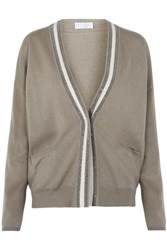 Brunello Cucinelli Bead Embellished Cashmere Cardigan Army Green