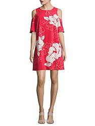 Laundry By Shelli Segal Floral Print Cold Shoulder Shift Dress Raspberry