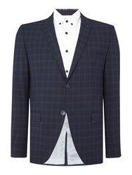 Selected Trey Navy Check Blazer