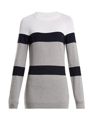 Lndr Apres Striped Knit Wool Blend Sweater White Multi