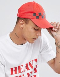 Granted Baseball Cap In Red With Checkerboard Print Red