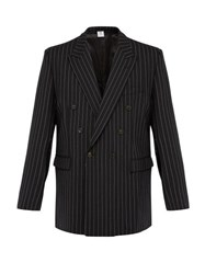 Vetements Double Breasted Pinstripe Wool Blend Blazer Black