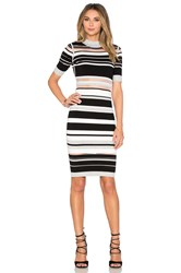 Milly Invisible Stripe Cutout Dress Black And White