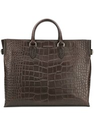Orciani Croc Effect Tote Brown