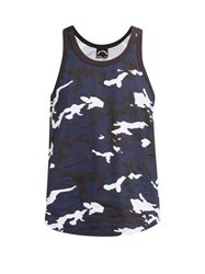 The Upside Marine Camouflage Print Cotton Tank Top Blue Print