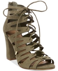 Madden Girl Banner Lace Up Sandals Women's Shoes Dark Olive