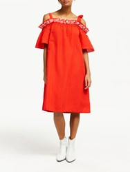 And Or Simone Ruffle Cold Shoulder Dress Bright Red