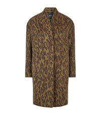 Set Leopard Print Coat Brown