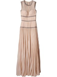 Alexander Mcqueen Pleated Evening Dress Pink And Purple