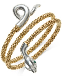 Macy's Emerald Accent Snake Wrap Bracelet In 14K Gold Vermeil And Sterling Silver