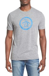 Men's Original Penguin Distressed Logo T Shirt Rain Heather