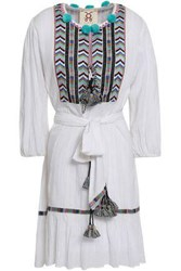 Figue Woman Pompom Embellished Embroidered Cotton Gauze Mini Dress White