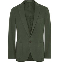 Officine Generale Green Slim Fit Garment Dyed Cotton Twill Suit Jacket Army Green