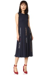 Red Valentino Pleated Graphic Print Dress Blue
