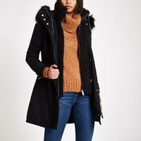River Island Black Faux Shearling Double Layer Coat