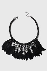 Topshop Mega Feather Statement Collar Black