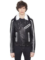 Christophe Terzian Perfecto Studded Leather Jacket W Fur
