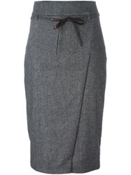 Brunello Cucinelli Belted Pencil Skirt Black