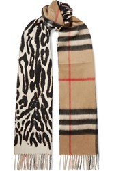 Burberry Fringed Printed Cashmere Scarf Leopard Print